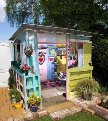 a representation of a colourful she shed design